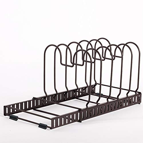 HonTop 11+ Pot Pan Lid Holder Kitchen Cabinet Organizer Rack,12 Adjustable Compartments for Bakeware Cookware and Cutting Boards Holder Storage