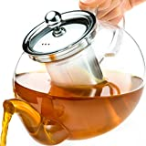 Tea Kettle Infuser Stovetop Gift Set - Glass Teapot with Removable Stainless Steel Strainer,...