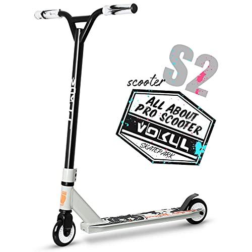 VOKUL Patinete TRII S2 Stunt Scooter – Patinete Freestyle con rendimiento estable para principiantes, niños y niñas a partir de 7 años con ruedas de poliuretano de 100 mm (negro (ruedas neo)