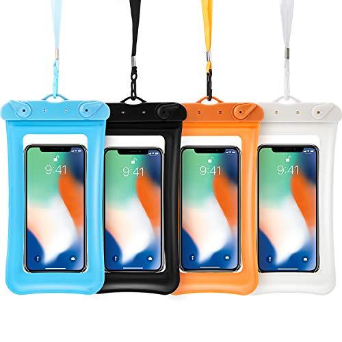 4 Pièces Pochette de Téléphone Étanche Flottante Pochette Flottant Étanche de Téléphone Portable Pochette de Universel de Téléphone Jusqu'à 6,5 Pouces (Bleu Lac, Blanc, Noir, Orange)