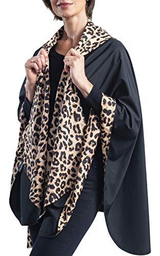 RainCaper Damen Regenponcho Reversibel Regendicht mit Kapuze Cape In Herrliche Ultra weich Farben Einheitsgröße Black & Leopard