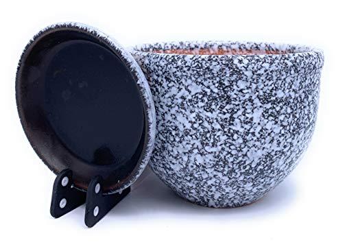 Pot de Fleurs en céramique Verni avec Soucoupe Ronde en Terre Cuite avec bac d'égouttement Pot de Fleurs en Argile Couleur Standard, Blanc/Noir, 23cm x 12cm