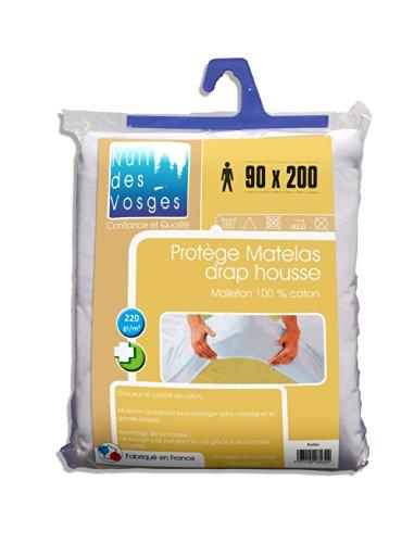 Nuit des Vosges 2035346 Aubin Protège Matelas Absorbant Molleton/Coton Blanc 90 x 200 cm