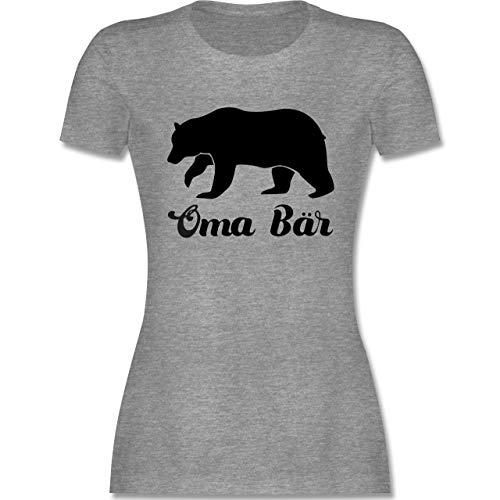 Oma - Oma Bär - XXL - Grau meliert - Statement - L191 - Tailliertes Tshirt für Damen und Frauen T-Shirt
