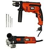BLACK+DECKER KR554RE 550W 13mm Variable Speed Reversible Hammer Drill Machine Set (4-Pieces) With BLACK+DECKER G720R 820W 4-Inches 100mm Small Angle Grinder