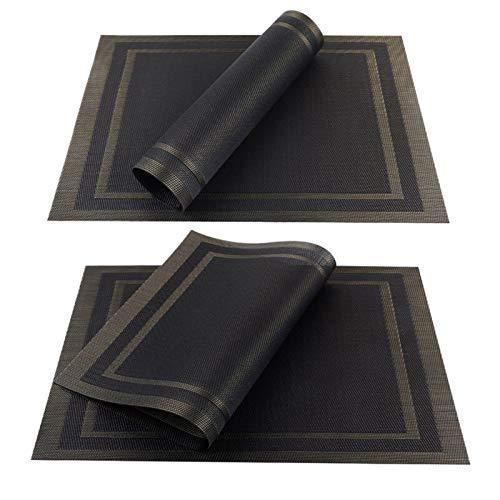 XUFAN 4/6/8 PCS Placemats para Platos de Comedor PVC Lavable Lavable en Accesorios de Cocina Taza de Vidrio Taza de Vino Sin resbalón Pad Pad Brown Brown manteles (Color : Black C, Size : Set of 4)