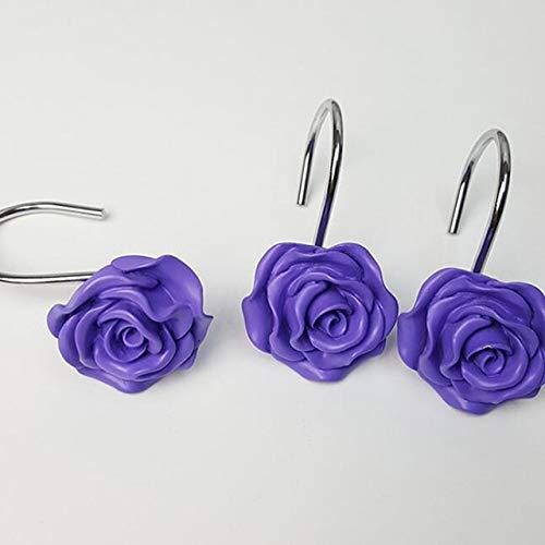 Qingsb 12 Pcs Rose Flower Resin Douchegordijnhaak Handgemaakt Decoratief Douchegordijn Spoorhaken Badkamer Kamer, paars
