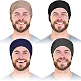 4 Pieces Satin Lined Hair Cover Satin Sleep Bonnet Adjustable-Designed Sleeping Beanie Stay on No Fading Night Cap for Men