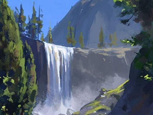 Kpoiuy Rompecabezas para Adultos y niños Rompecabezas de Madera Cascada acantilado Patrón de Arte en la Mano Juegos interactivos Familiares, Gran Ocio de Vacaciones 500 Piezas 52 * 38 CM