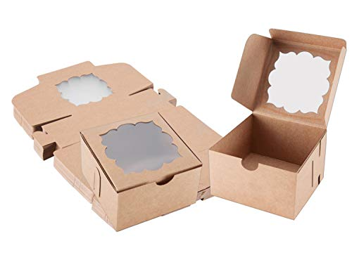 50 Pack Bakery Boxes with Window Pastry Boxes Dessert Boxes Treat Boxes Cookie Boxes for Gift Giving 4x4x2.5 inches (Brown)