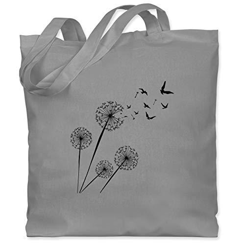 Shirtracer Blumen & Pflanzen - Pusteblume Vögel schwarz - Unisize - Hellgrau - stoffbeutel blumen - WM101 - Stoffbeutel aus Baumwolle Jutebeutel lange Henkel