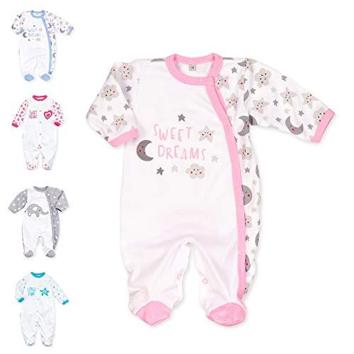 Baby Sweets Baby Strampler Mädchen weiß grau rosa   Motiv: Sweet Dreams   Babystrampler mit Sonne Mond Sterne Motiv für Neugeborene & Kleinkinder   Größe 3 Monate (62) …