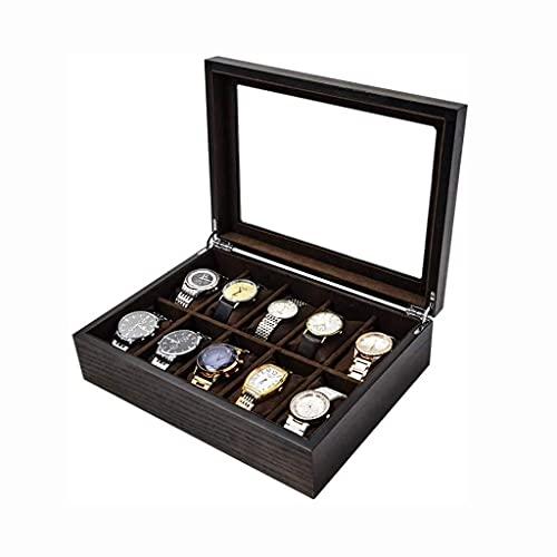 Sunmong Caja de reloj con compartimentos transparentes para ventana, joyas, pulsera y caja de almacenamiento de madera para hombres y mujeres