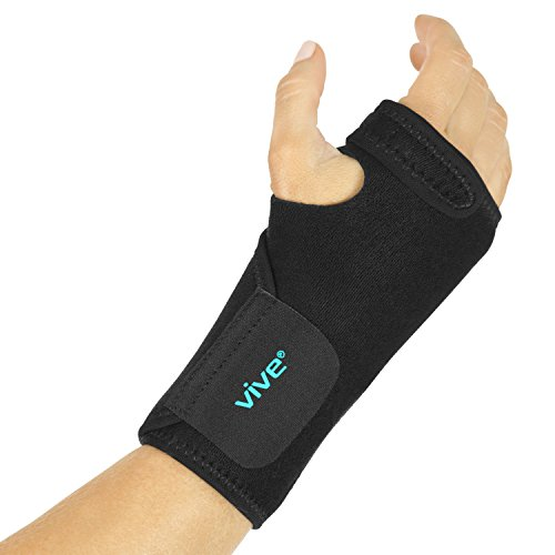 Vive Wrist Brace - Carpal Tunnel Hand Compression Support Wrap for Men, Women, Tendinitis, Bowling, Sports Injuries Pain Relief - Removable Splint - Universal Ergonomic Fit (Black, Right)
