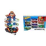 Hot Wheels Exklusives Kombi-Angebot: Hot Wheels GJL14 City Robot Rex Megacity Parkgarage mit Spielzeug Dinosaurier inkl. 2 Spielzeugautos Hot Wheels 54886 1:64 Die-Cast AutoGeschenkset, 10er Pack