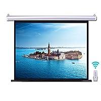 電動 壁掛 プロジェクタースクリーン 60インチ(16:9/4:3)視野角160° 電動格納 3D HD 高解像度 リモコン付きけホームシアター スクリーン (16:9)