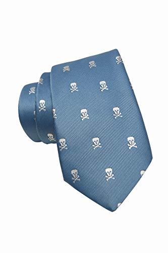 corbata de hombre elegante y original con calaveras y con ancho de pala de 8cm,pañuelo a juego de regalo