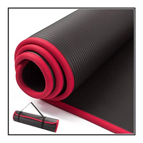 Xnhui 10 mm dick 183cmX61cm NRB hochwertiger rutschfeste Yoga-Matte Fitness geschmacklos wie Pilates Fitness-Studio mit einem Verbandskissen (Color : Black)