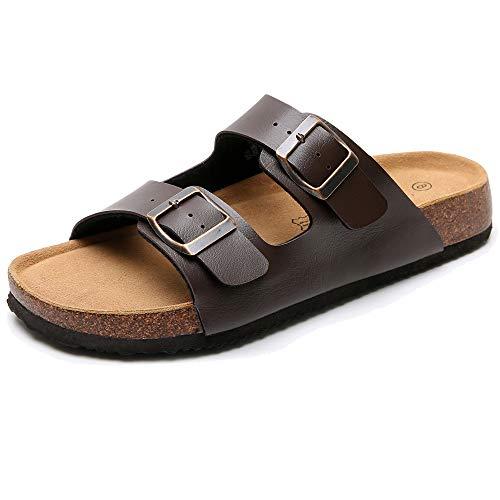 Men's Cork Footbed Sandals with Two Adjustable Buckle Straps - Slip on Summer Slide Sandals for men, Arch Support (Size 9)
