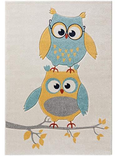 benuta Kinderteppich Freche Eule Blau 80x150 cm | Teppich für Spiel- und Kinderzimmer