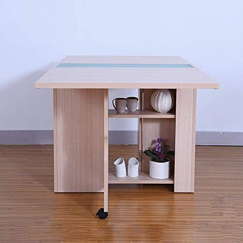 Renovación del hogar Cocina Mesa de comedor Mesa de comedor plegable Hoja abatible Mesa multifunción extensible Mesa extensible Mesa de cocina plegable con estante de almacenamiento (Color: Blanco