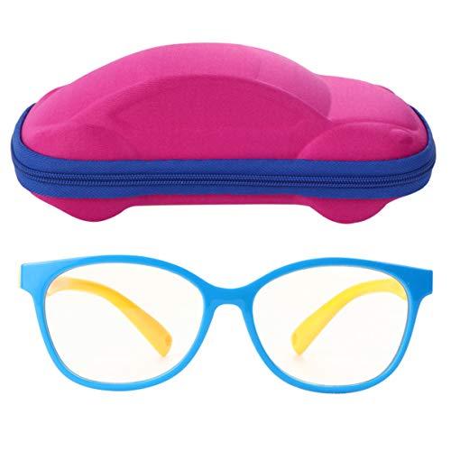 FRCOLOR Niños Anteojos de Luz Azul con Estuche Protección Anti-Tensión Filtro de Deslumbramiento de Ojos Lente de Lectura Falsa Pantalla de Juegos de Computadora Bloqueo de Anteojos para
