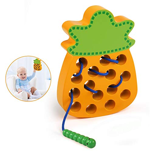 BelleStyle Juguetes Montessori, Rosca Juguete de Madera, Cordones Enhebrado Actividades Montessori Juguete para Niños, Aprendizaje Temprano Educativo Desarrollo Juego para Niños (Amarillo)