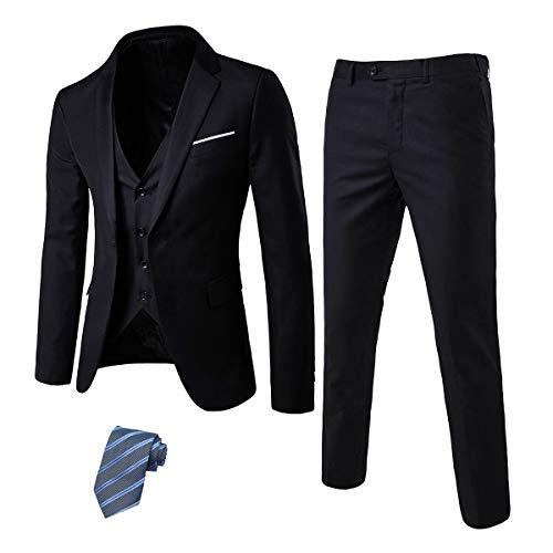 EastSide Men's Slim Fit 3 Pieces Suit, One Button Blazer Set, Jacket Vest & Pants Black