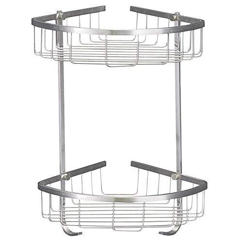 CMMT Estante de baño de 2 niveles para ducha de baño, soporte de pared Sus304, acero inoxidable, antioxidante, con gancho, adecuado para baño, cocina, balcón (tamaño: 20 x 20 x 36 cm)