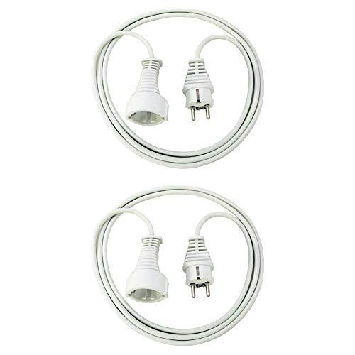 Brennenstuhl Qualitäts-Kunststoff-Verlängerungskabel (2m, weiß) und Qualitäts-Kunststoff-Verlängerungskabel (3m, weiß)