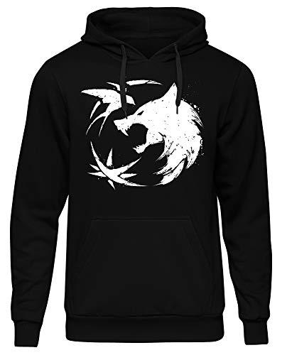 Uglyshirt89 Witcher Männer Herren Kapuzenpullover | Gamer Geralt Wolf Logo | M1 (L)