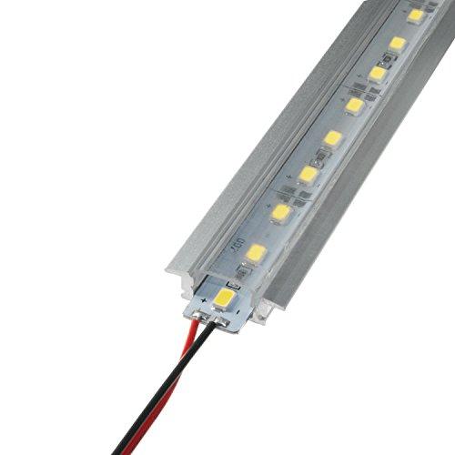 LED Aluschiene Set unterputz Alu Profil Schiene durchsichtiger Abdeckung ink. SMD Alustrip Lichtleiste Hart Strip Profil D transparent + Alu Strip Kaltweiß 1 Meter