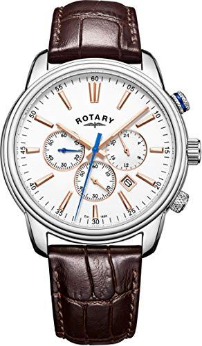 Rotary Herren Chronograph Quarz Uhr mit Leder Armband GS05083/06