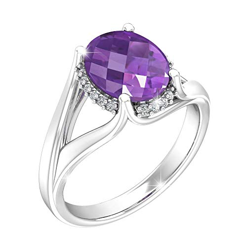 Belinda Jewelz Womens 925 Sterling Silver Classic Center 10x8 mm Oval Gemstone Halo Solitaire Birthstone Fine Jewelry Accessory Promise Engagement Wedding Band Ring, 2.1 Carat Amethyst Purple, Size 7