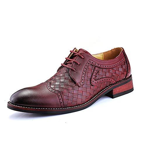 Oxford Business for Les Hommes Chaussures Formelles à Lacets en Cuir synthétique Cap Toe Soles Amorti Stitched Weave Motif Solide Couleur Classique Moderne. (Color : Rouge, Taille : 39 EU)
