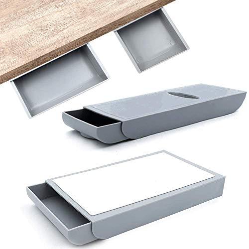 Caja de almacenamiento de lápices adhesivos - Organizador de cajones,2 piezas Autoadhesivo para colgar lápices Cajón oficina, escuela… (Gris)
