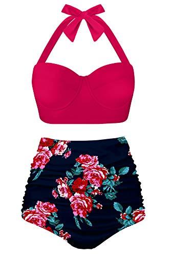 Angerella Damen Retro Stil Polka-Punkt mit Hoher Taille Badeanzug Bikini Set