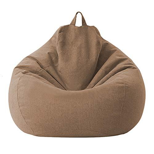 AMGJ Kindersitzsack Hülle ohne Füllung, Premium Baumwollwäsche Sitzsack Bezug Sitzsackhülle Abdeckung für Kinder und Erwachsene,Braun,80x90cm
