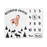 Sweet Jojo Designs Woodland Moose Boy Milestone Blanket Monthly Newborn First Year Growth Mat Baby Shower Memory Keepsake Gift Picture - Black and White Forest Adventure Awaits Rustic Patch