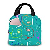 antspuent Nurse Medical Theme Lunch Bag for Women Girls Kids Insulated Picnic Pouch Thermal Cooler Tote Bento Large Meal Prep Cute Bag Big Leakproof Soft Bags for Lunch Box, Camping, Travel, Fishing