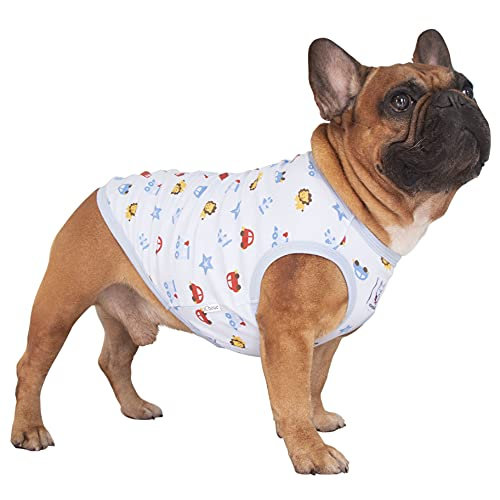 iChoue Dogs Clothes Vest Fruit Print Cotton Sleeveless Pajama for French Bulldog Pug Boston Terrier Frenchie Cute Tank Top - M Pattern of Cartoon