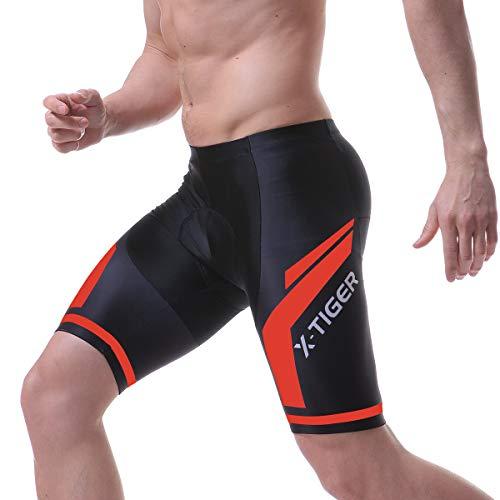 X-TIGER Hombres de Bicicleta con 5D Gel Acolchado MTB Ciclismo Tirantes Culotte Pantalones Cortos Culotes (L, Rojo Pantalones Cortos)