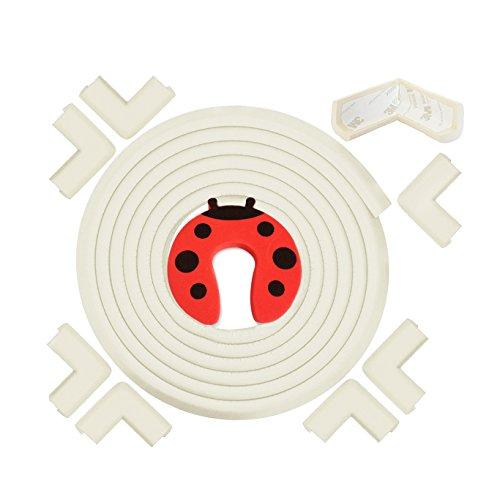 Kit di Protezione Per Bordi e Angoli - Proteggi Il Tuo Bebè O I Bambini Piccoli - 6,3 m di Paracolpi In Morbida Crema di Gomma Bianca e 8 Protezioni Per Angoli - Con Fermaporta