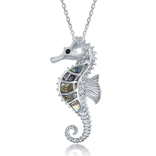 Sterling Silver Natural Abalone Shell Sea Horse Pendant with 18' Chain