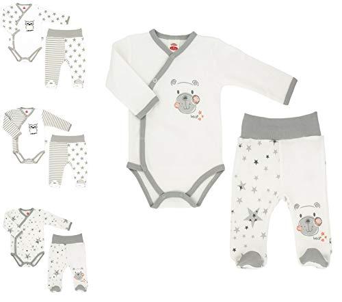Makoma Baby Erstausstattung Neugeborenen Set 2tlg. Baby Body & Strampelhose mit Fuß Unisex (68, Teddy)