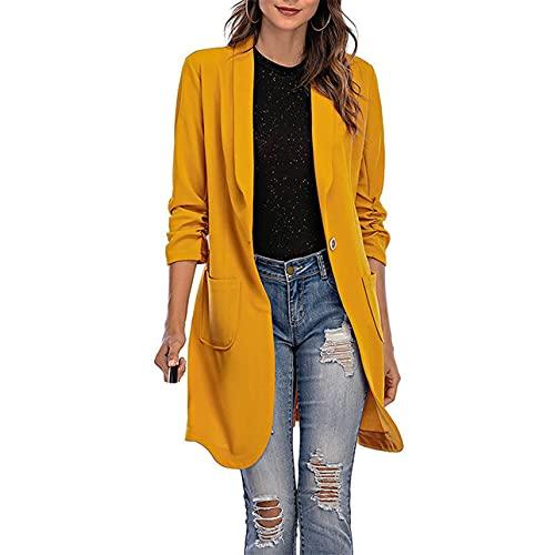 Pabuyafa Mujeres de manga larga Casual Blazers Color sólido chaqueta larga capa de un solo botón solapa traje transpirable chaqueta con bolsillo, amarillo, 36