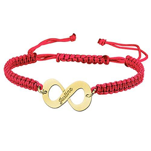 Namesforever Shamballa Infinity armband kleur rood met naam gravure van goud