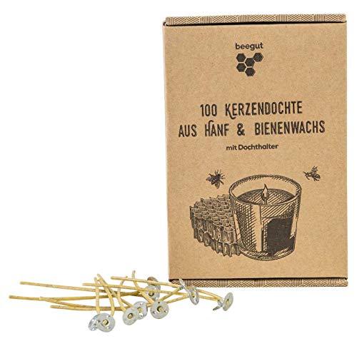 beegut nachhaltige Kerzendochte aus nachwachsendem Hanf & natürlichem Bienenwachs, ohne Paraffin, 100 Stück (10cm) mit praktischem Dochthalter