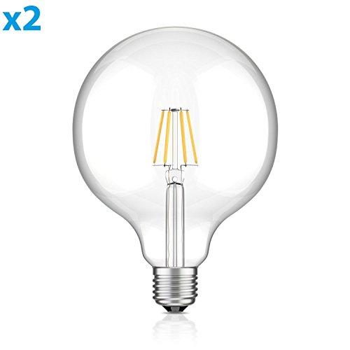 ledscom.de E27 LED Globe bombilla filamento G125 (12,5cm Kopfdurchmesser) 6W =60W blanca cálida (2700K) 800lm A++ para interior y exterior, 2 UDS