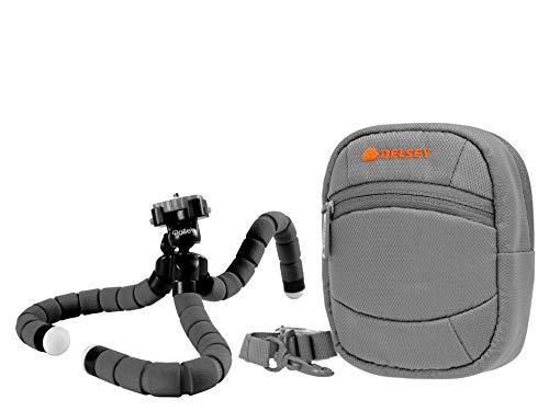 Fototas camera tas DELSEY ODC 7 grijs set met Flexi statief Rollei 100 voor SONY CyberShot DSC W830 WX350 / Canon IXUS 285 275 HS 180 175 / Panasonic Lumix DMC SZ10 / NIKON COOLPIX A300 A10